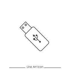 line art usb drive icon vector image