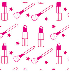 Lipstick and brush background vector