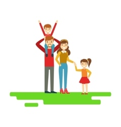 Parents and kids holding hands in park happy vector