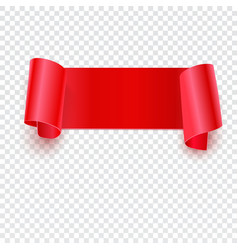 Red banner on transparent vector
