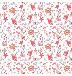 simple doodle nautical seamless pattern vector image