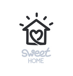 simple icon of house with heart shape within vector image