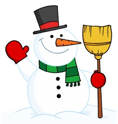 snowman holding a broom and waving vector image