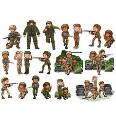 Soldiers in different actions vector image vector image