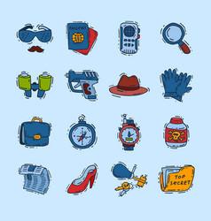 spy icons cartoon detective set mafia agent vector image