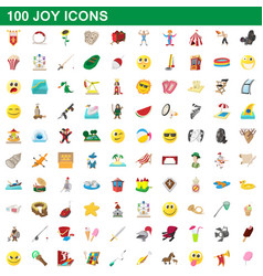 100 joy icons set cartoon style vector