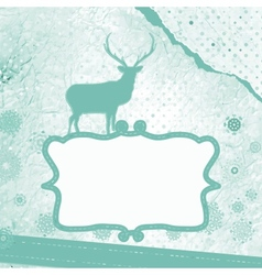 Santa claus deer vintage christmas card eps 8 vector