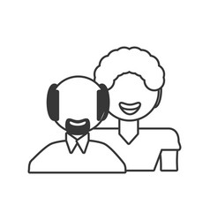father grandfather together outline vector image