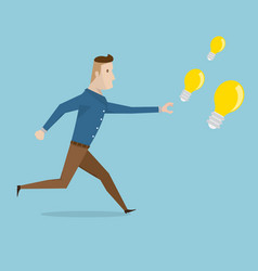 businessman running for catch bulb idea vector image