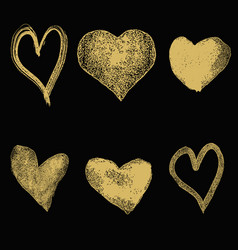 Set of hand drawn hearts in golden style isolated vector