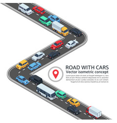 isometric street with cars 3d highway and vector image