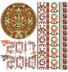 Aztec calendar with ornaments vector