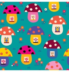 Cute animals in mushroom houses kids pattern vector