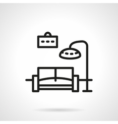 Black line living room icon vector