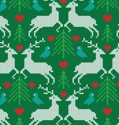 Embroidered prancing reindeer pattern vector