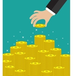 Hand put coin to money staircase vector