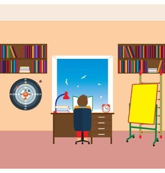 Child reading a book vector