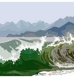 Landscape raging green sea vector