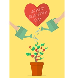 Couple watering love plant vector