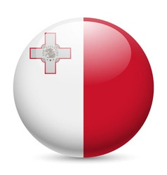 Round glossy icon of malta vector