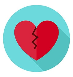 Broken heart circle icon with long shadow vector