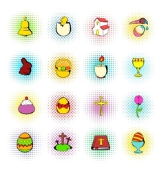 Easter set icons comics style vector image