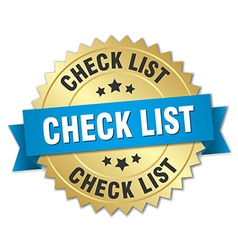 Check list 3d gold badge with blue ribbon vector