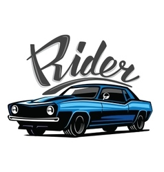 blue muscle car vector image