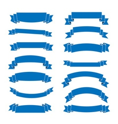 Blue ribbon banners set vector image vector image