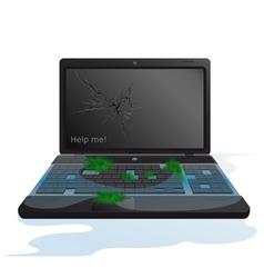 Broken laptop vector image