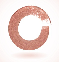 Bronze paintbrush circle frame vector