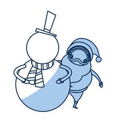 Christmas snowman and santa claus funny vector