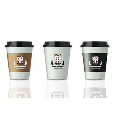 coffee cups realistic set mock up design vector image vector image