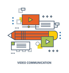 Concept of education and video tutorial vector