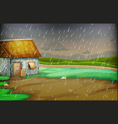 Countryside scene with little hut in the rain vector