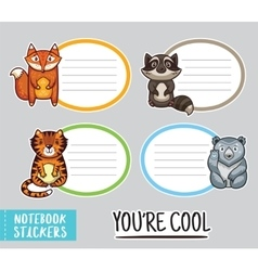 Cute animals notebook stickers vector image