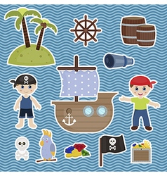 Cute pirate objects vector