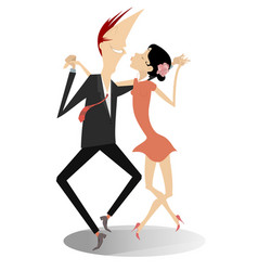 dancing young couple isolated vector image vector image