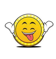 Ecstatic face coin cartoon character vector