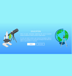 education banner with telescope and microscope vector image vector image