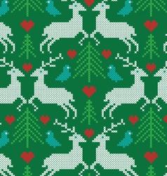 embroidered prancing reindeer pattern vector image
