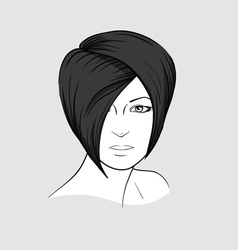 Face of brunette with short hair vector image vector image