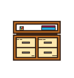 Flat color cabinet icon vector