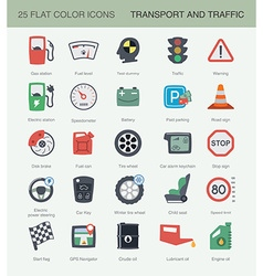 Flat transport and traffic icons set vector