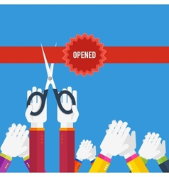 Grand opening - cutting red ribbon vector