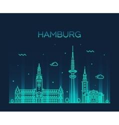 Hamburg skyline linear style vector