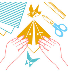 icon of origami lessons vector image vector image