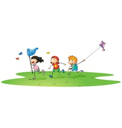kids playing with kites vector image