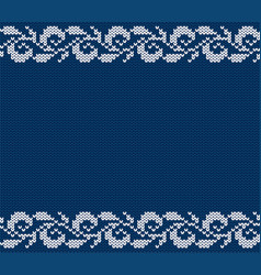 knitted blue christmas floral ornament winter vector image vector image