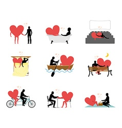 Lovers set of silhouettes Man and heart in movie vector image vector image